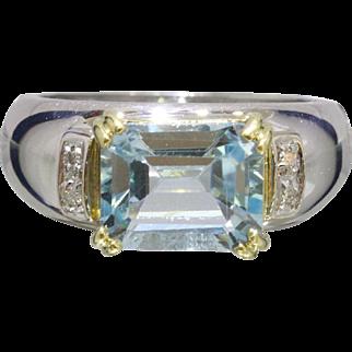 Estate Horizontally Set Blue Topaz and Diamond 18K White Gold Ring