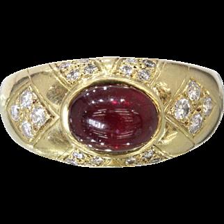 Vintage Hammerman Brothers Cabochon Ruby and Diamond 18K Gold Ring Band