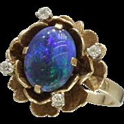 Vintage Black Opal Rose and Diamond 14K Gold Ring