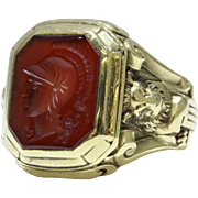 Antique Carnelian Intaglio Lion Head 10K Gold Ring