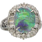 Vintage 2.68 Carat Black Opal and Diamond Platinum Alternative Engagement Cocktail Ring