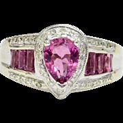 Pink Topaz and Diamond 14K White Gold Ring