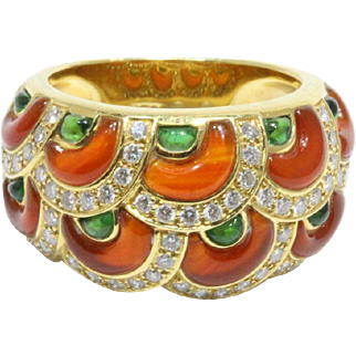 Vintage Scalloped Agate, Chrysoprase and Diamond 18K Gold Band Ring