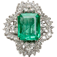 EGL Certified 6.98 Carat Natural Emerald and Diamond 18K Gold Cocktail Ring