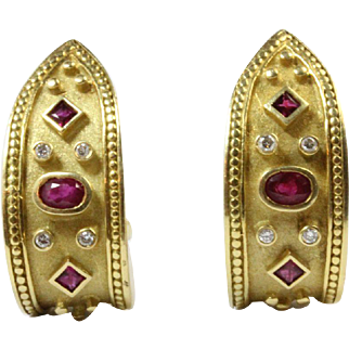 Embellished 18K Gold Ruby and Diamond Heavy Huggie Earring Clips
