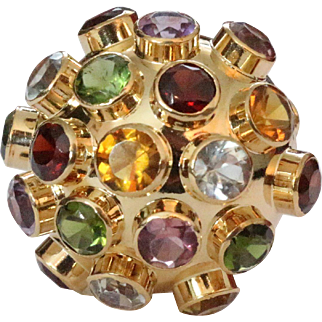 Funky Vintage Colorful 18K Gold Bombe Cocktail Ring