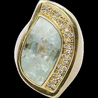 Funky Natural Aquamarine and Diamond 18K Gold Statement Ring
