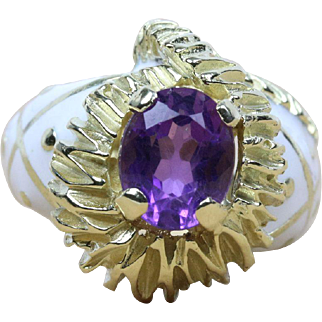 Funky Natural Amethyst and White Enamel Heavy 18K Gold Ring