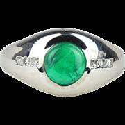 Unisex 2 Carat Cabochon Emerald and Diamond 14K White Gold Ring
