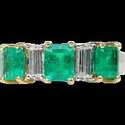 1.8 Carat Emerald and 0.5 Carat Diamond 18K Gold Band Ring