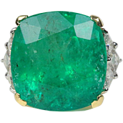 GIA 24.21 Carat Colombian Emerald and Diamond 18K Gold Statement Cocktail Ring