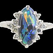 Australian Black Opal and Diamond Platinum Cocktail Ring