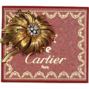Cartier London Vintage Chrysanthemum Flower 18K Gold Diamond Brooch Pin