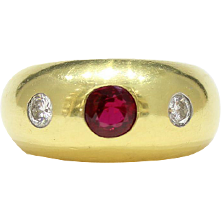 Vintage GIA Natural Ruby and Diamond Heavy 18K Gold Gypsy Ring