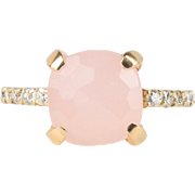 Vintage 18K Rose Gold with Diamond and Pastel Pink Stone Ring