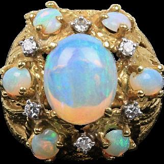 Vintage Natural Opal and Diamond Cluster 18K Gold Flower Cocktail Ring