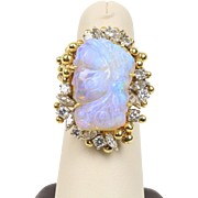 Carved Australian Opal Cameo 1.8 Carat Diamond 18K Gold Cocktail Statement Ring