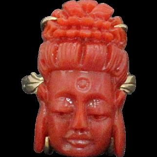 Vintage Natural Carved Coral Oxblood Color Buddha 18K Gold Ring