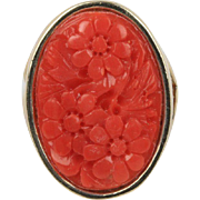 Large Carved Red Coral with Floral Motif 14K Gold Statement Ring