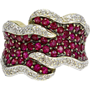 Vintage Wide Chunky Ruby and Diamond 14k Gold Ring Band