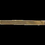 Classic Men's Vintage Tiffany & Co 14K Gold Stripe Tie Clip