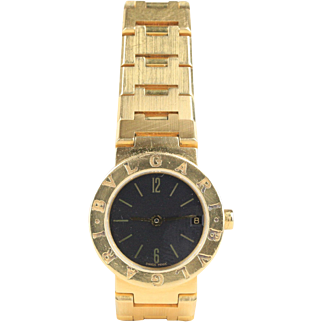Lady's Bvlgari 18K Yellow Gold Date Classic Black Dial Watch
