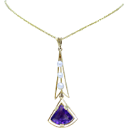 Estate Geometric Natural Amethyst and Seed Pearl 14K Gold Necklace