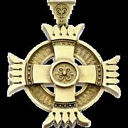 Victorian Etruscan Revival 12K Gold Maltese Cross Mourning Pendant