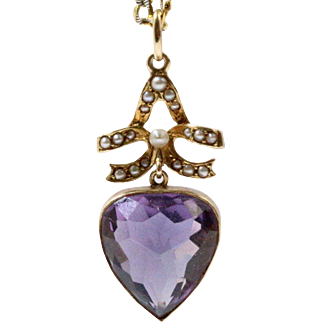 Sweet Art Nouveau Heart Shaped Natural Amethyst and Seed Pearl 14K Gold Pendant