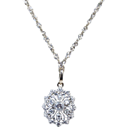 Delicate Diamond and 18K White Gold Snowflake Open Work Pendant and Necklace