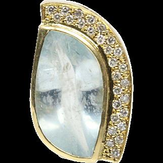 Funky Natural Aquamarine and Diamond 18K Gold Statement Pendant