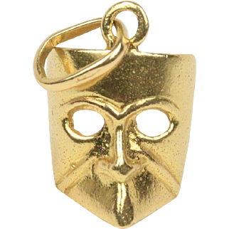 Vintage 18K Gold Drama Mask Charm Pendant