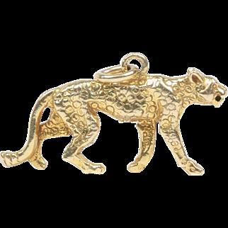 English Panther Leopard Feline 9K Gold Charm Pendant