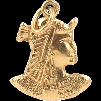 Vintage 18K Gold Egyptian Pharaoh Charm Pendant