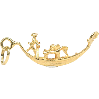 Vintage Italian Gondola Venice 18K Gold Charm