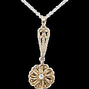 Art Nouveau Era Old Mine Cut Diamond and 14K Yellow Gold Swirl Drop Pendant