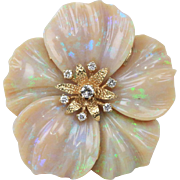Large Statement Carved Opal and Diamond 14K Gold Pendant Brooch