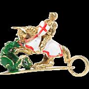 Vintage Enamel Horseback Knight Lance Fighting Dragon 9K Gold Charm Pendant