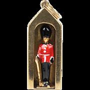 Vintage Enamel Queen's Guard Buckingham Palace English 9K Gold Charm