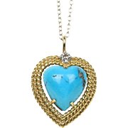 Natural Heart Shaped Turquoise, Diamond and 18K Gold E Pearl Pendant