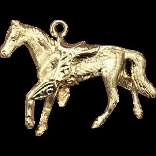 Vintage 14K Gold Horse Equestrian Heavy Charm Pendant