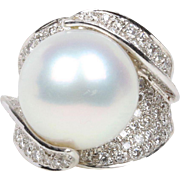 Rare 16.7 MM South Sea Pearl and 2.7 Carat Diamond 18K Gold Statement Ring