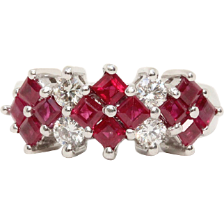 Platinum Radiant Cut Ruby and Diamond Wedding Anniversary Band Ring