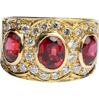 Vibrant Three Ruby and Pave Set Diamond 18K Gold Wide Band Ring