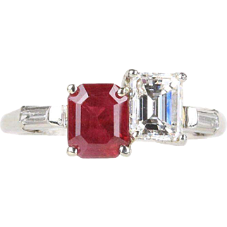 Vintage 1940s GIA Certified Burma Ruby and Diamond Platinum Contrast Ring