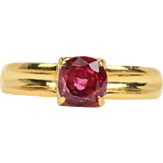 Simple Natural Ruby and 18K Gold Solitaire Alternative Engagement Ring