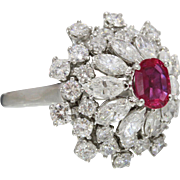 AGL Burma No Heat Ruby and Diamond Platinum Festive Vintage Ring