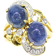 Vintage Double Cabochon Natural Blue Sapphire and Diamond 18K Gold Ring
