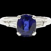 Vintage GIA Certified 2.26 Carat Royal Blue No Heat Sapphire and Diamond Platinum Ring