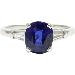 Vintage GIA Certified 2.26 Carat Royal Blue No Heat Sapphire and Diamond Platinum Ring